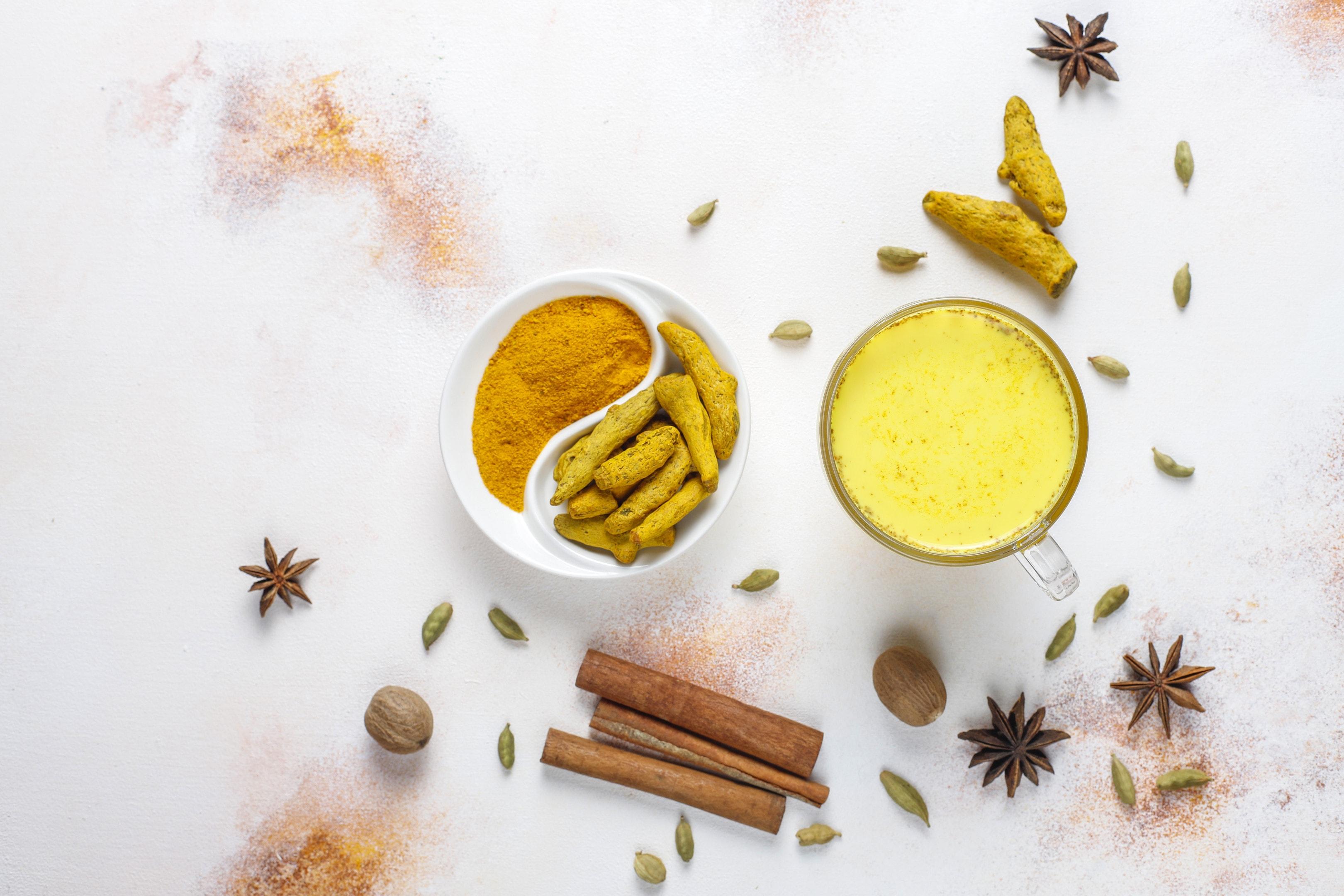 Turmeric golden milk traditional Indian drink