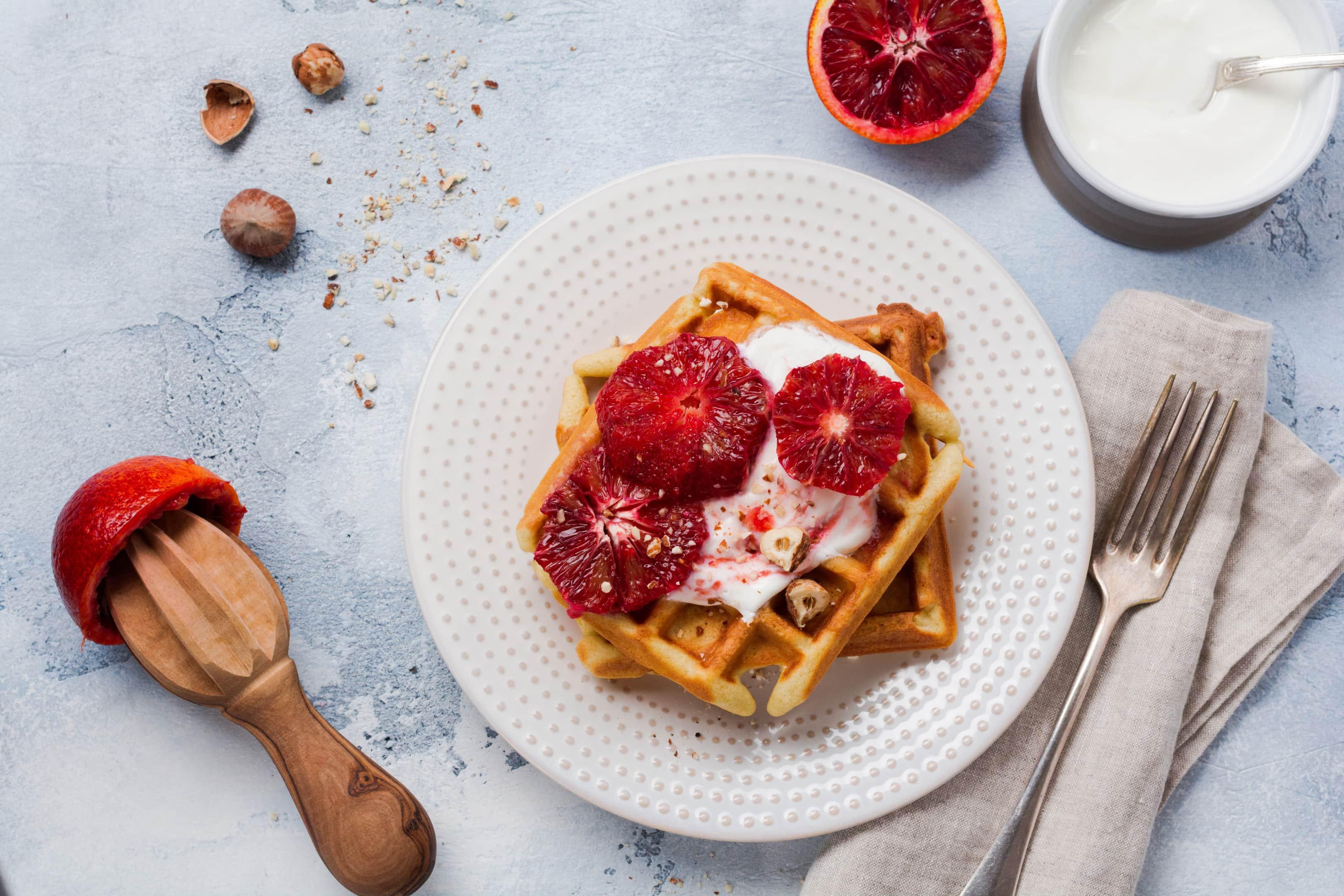 Waffles with yogurt and Sicilian red orange