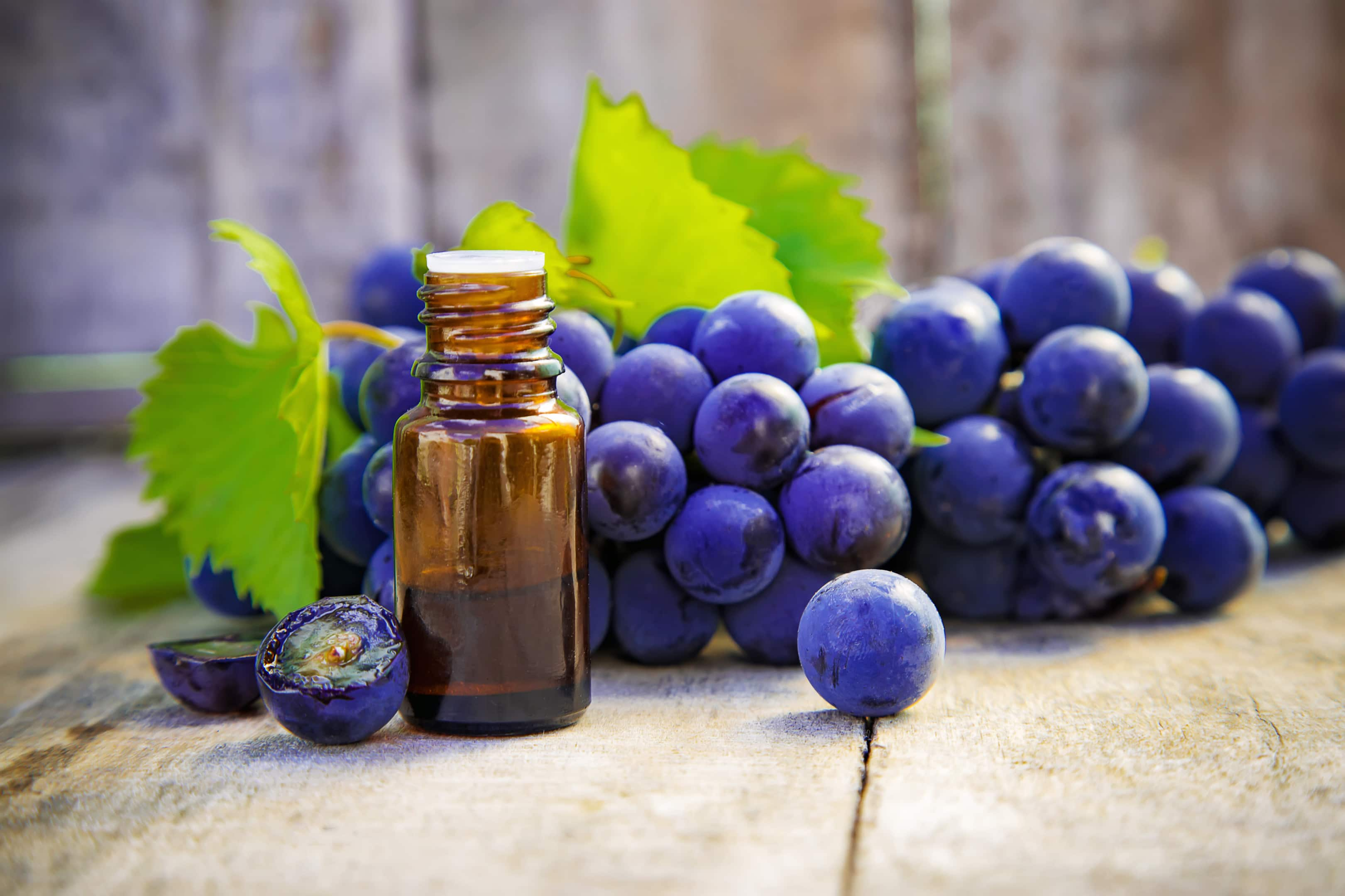 Grape seed extract in a small glass bottle with fresh grapes