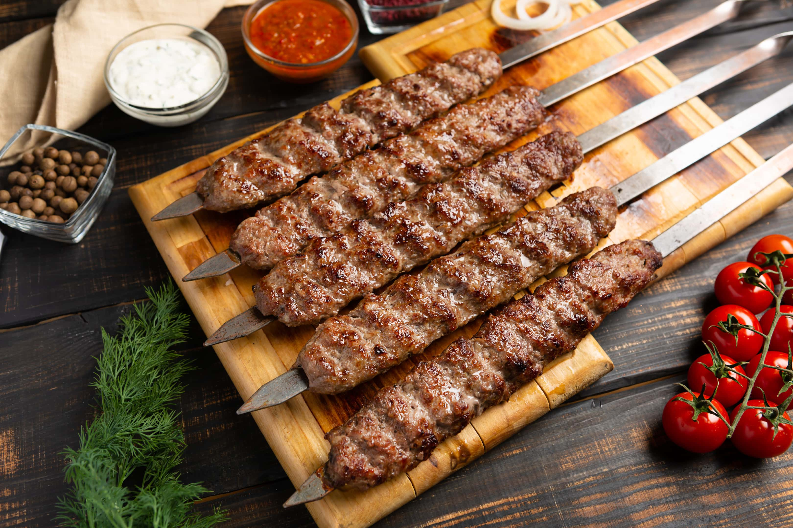 Kebab made from minced beef and lamb meat