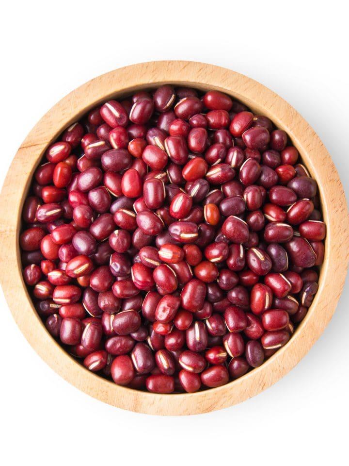 Red adzuki beans in a wood bowl