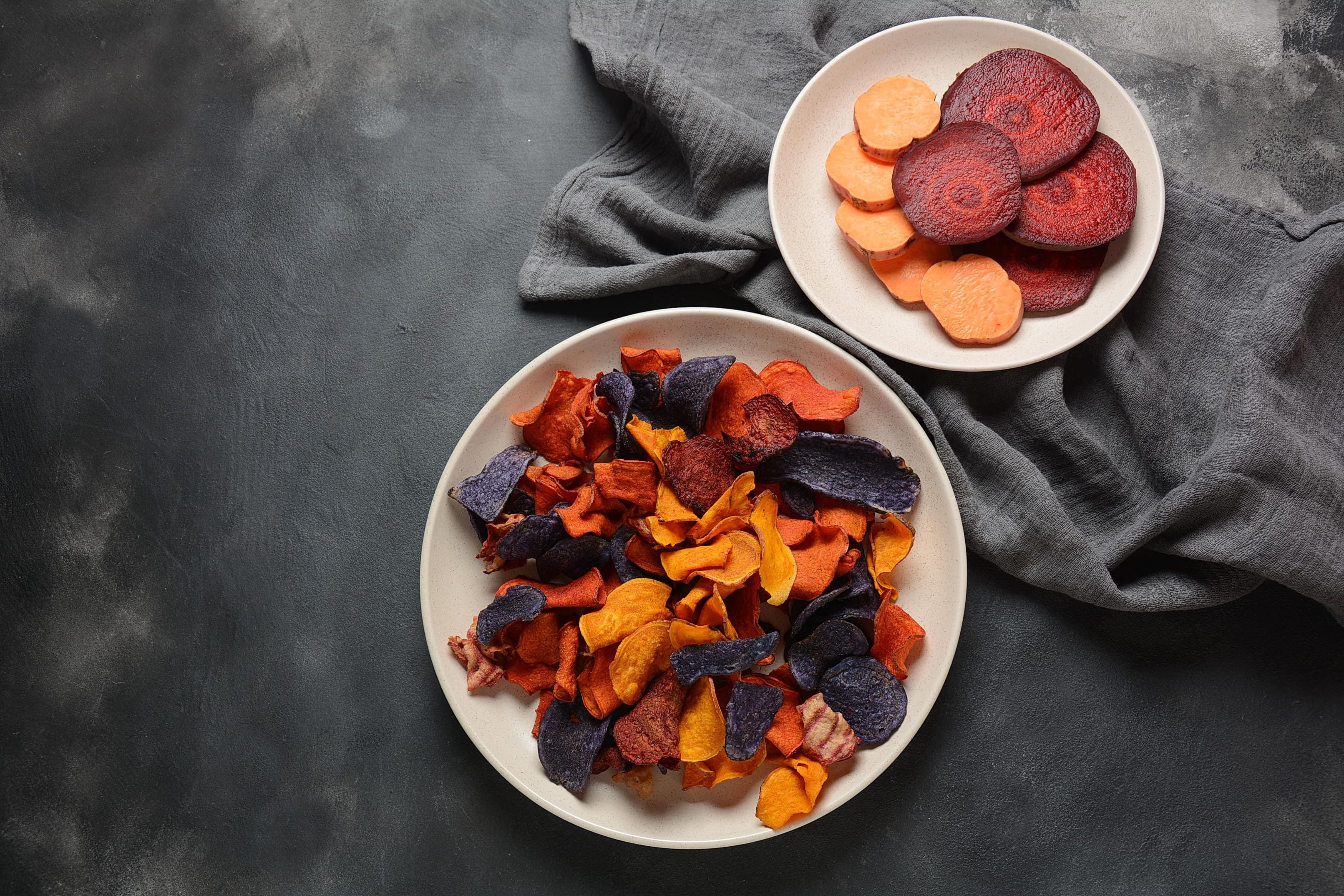 Salt-free baked root vegetable chips — sweet potato, purple sweet potato, carrot and beetroot