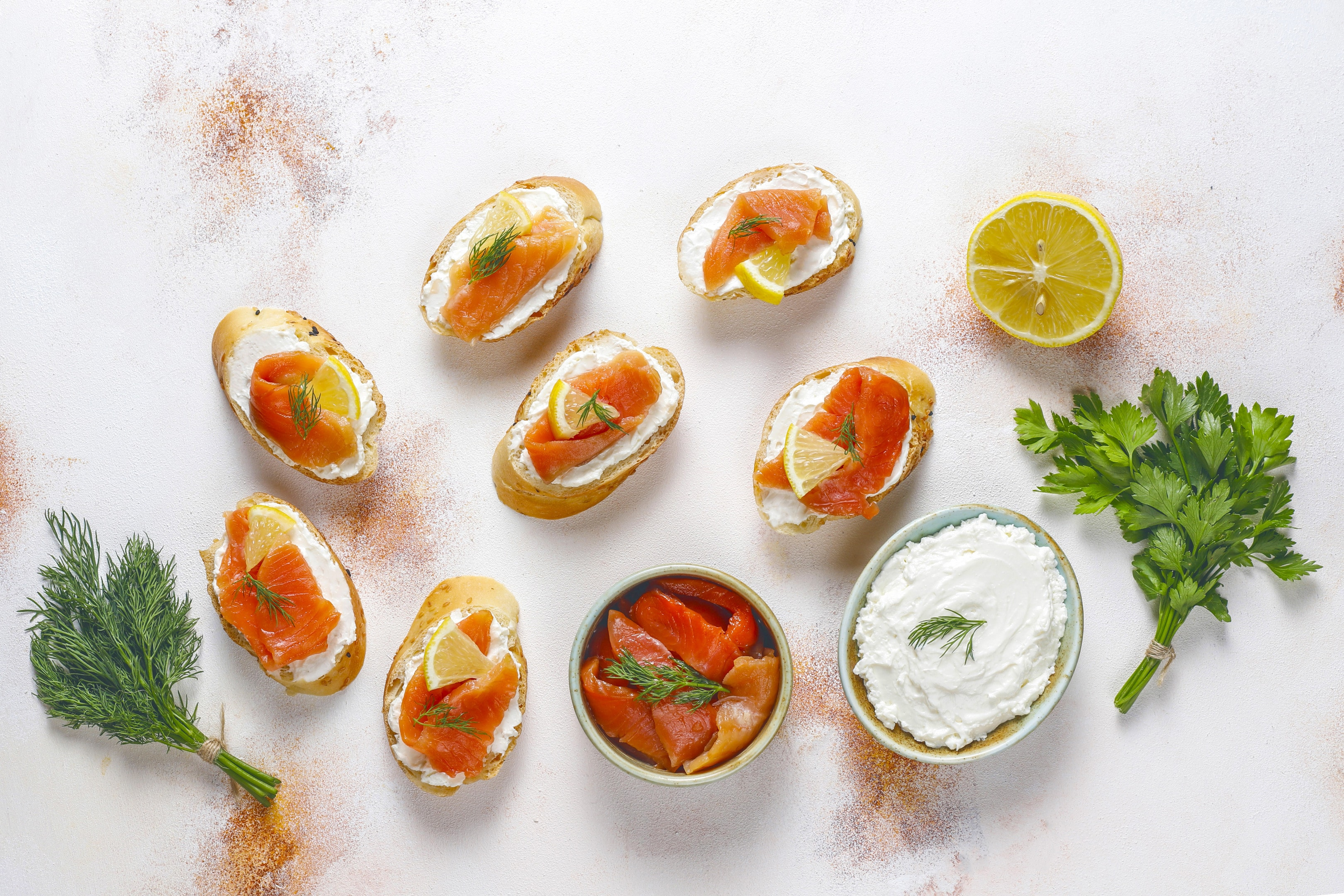 Sandwiches with smoked salmon, cream cheese and dill