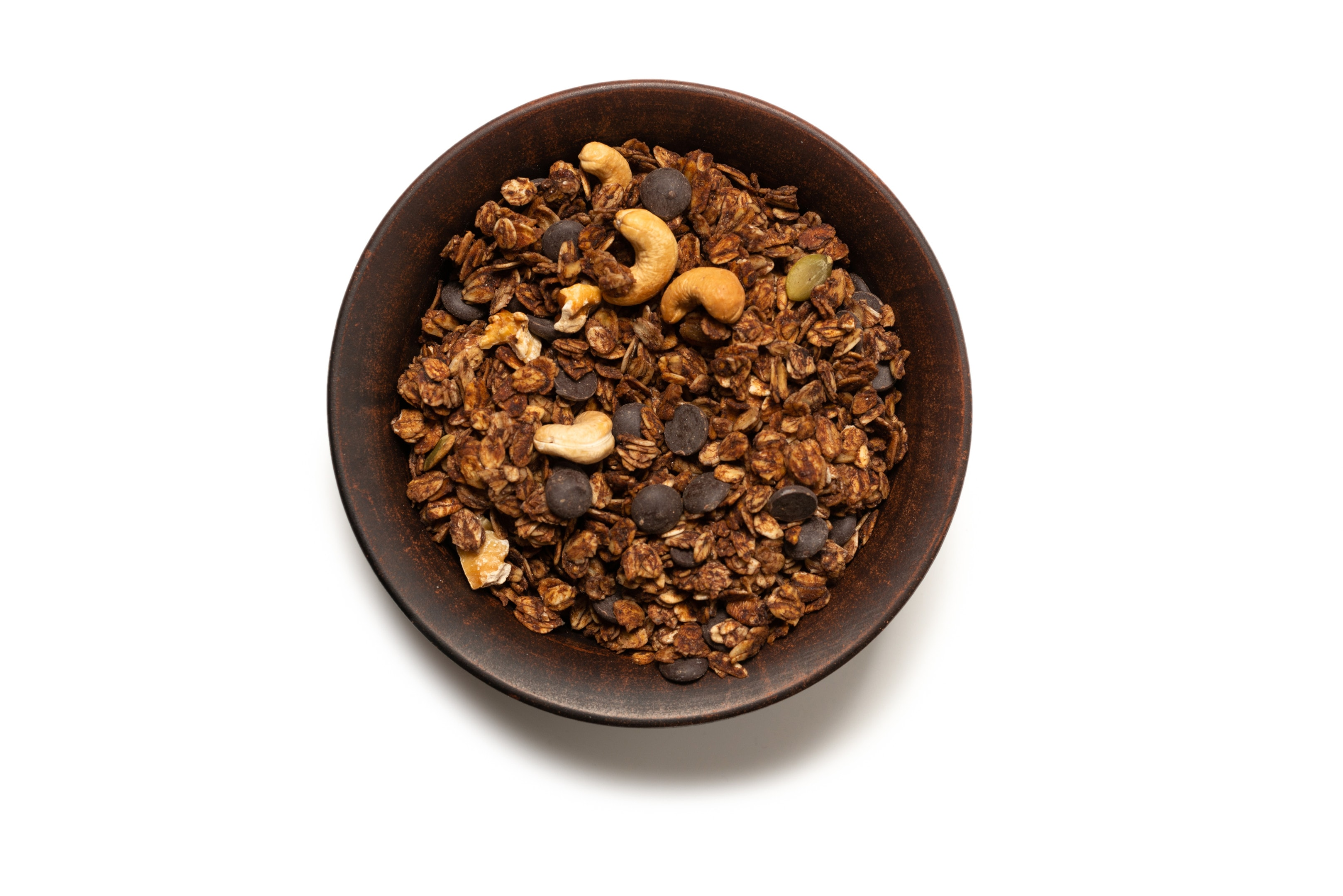 Whole grain oats granola cereal with seeds, nuts and dark chocolate