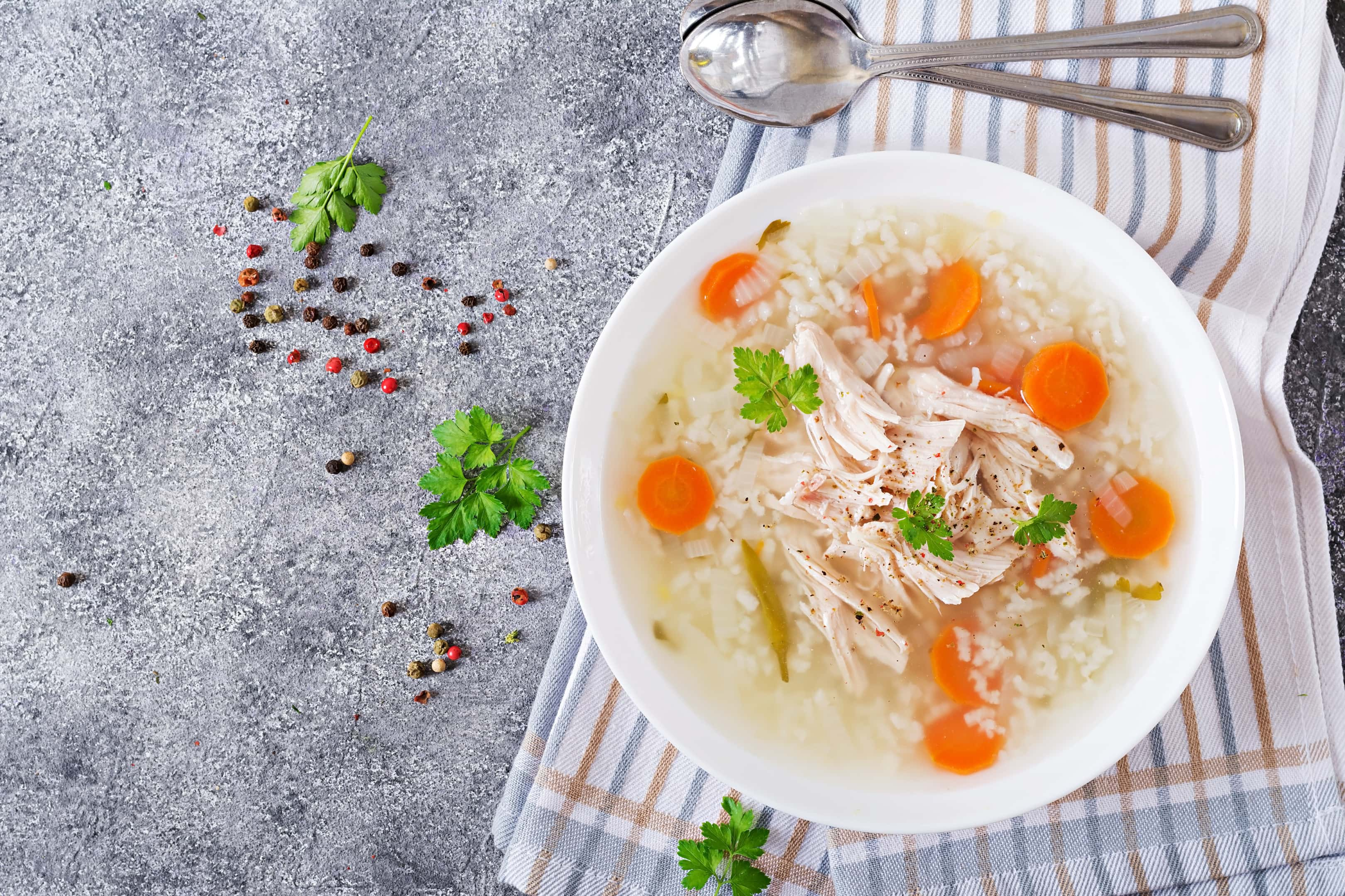 Chicken soup with rice and carrots