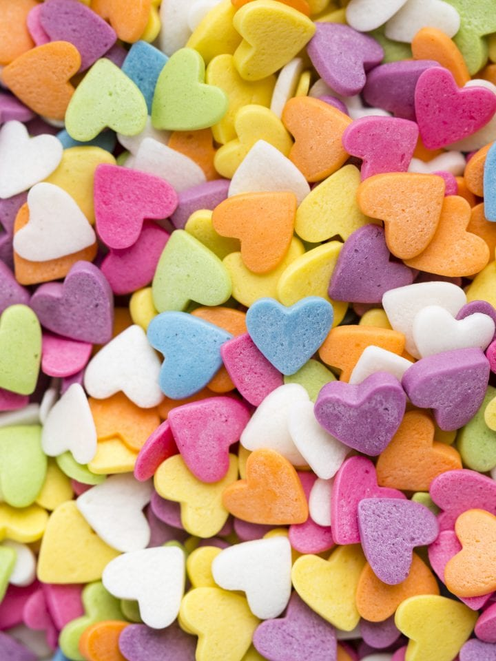 Colourful heart shaped candy sweetened with xylitol