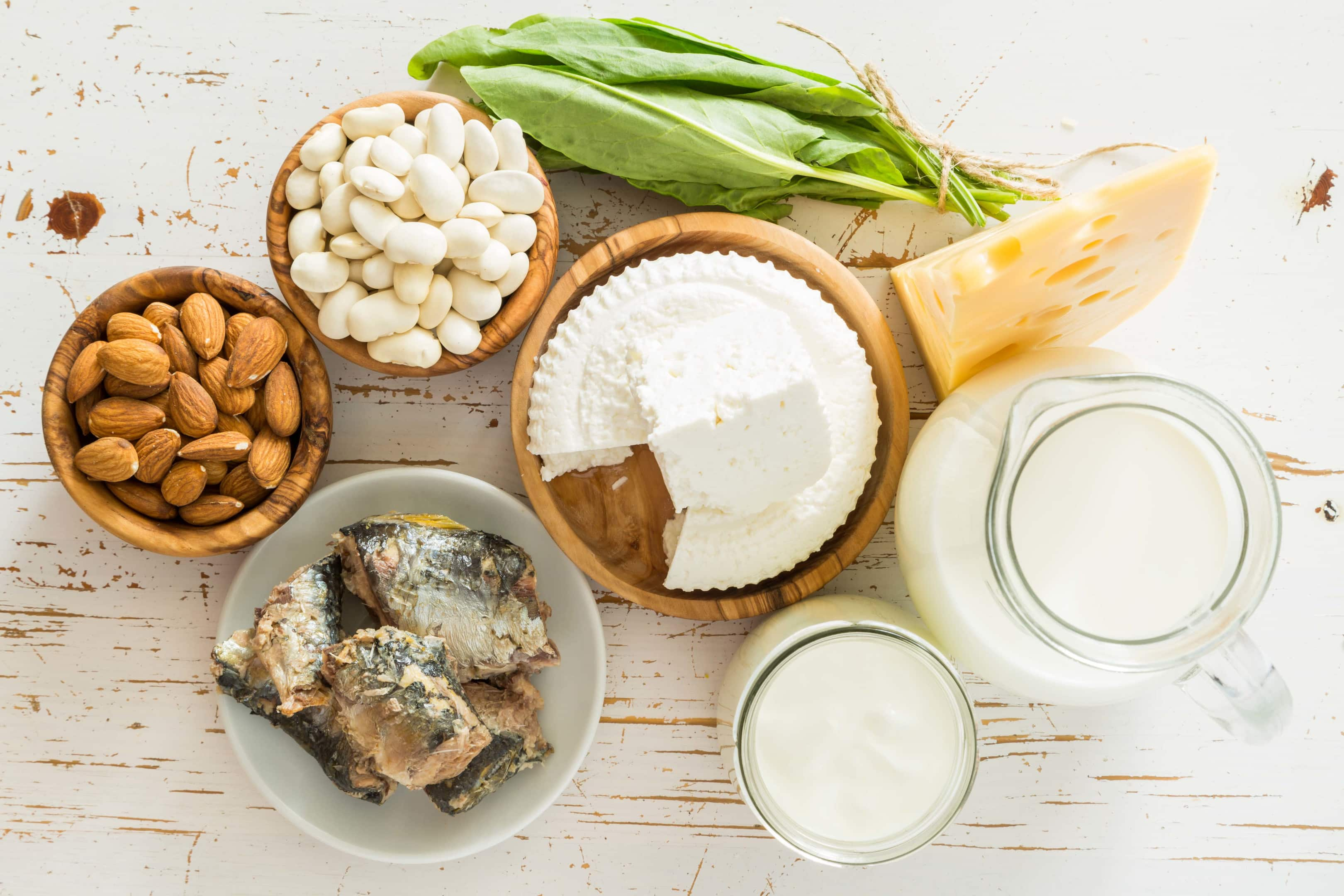 Selection of foods that are rich in calcium