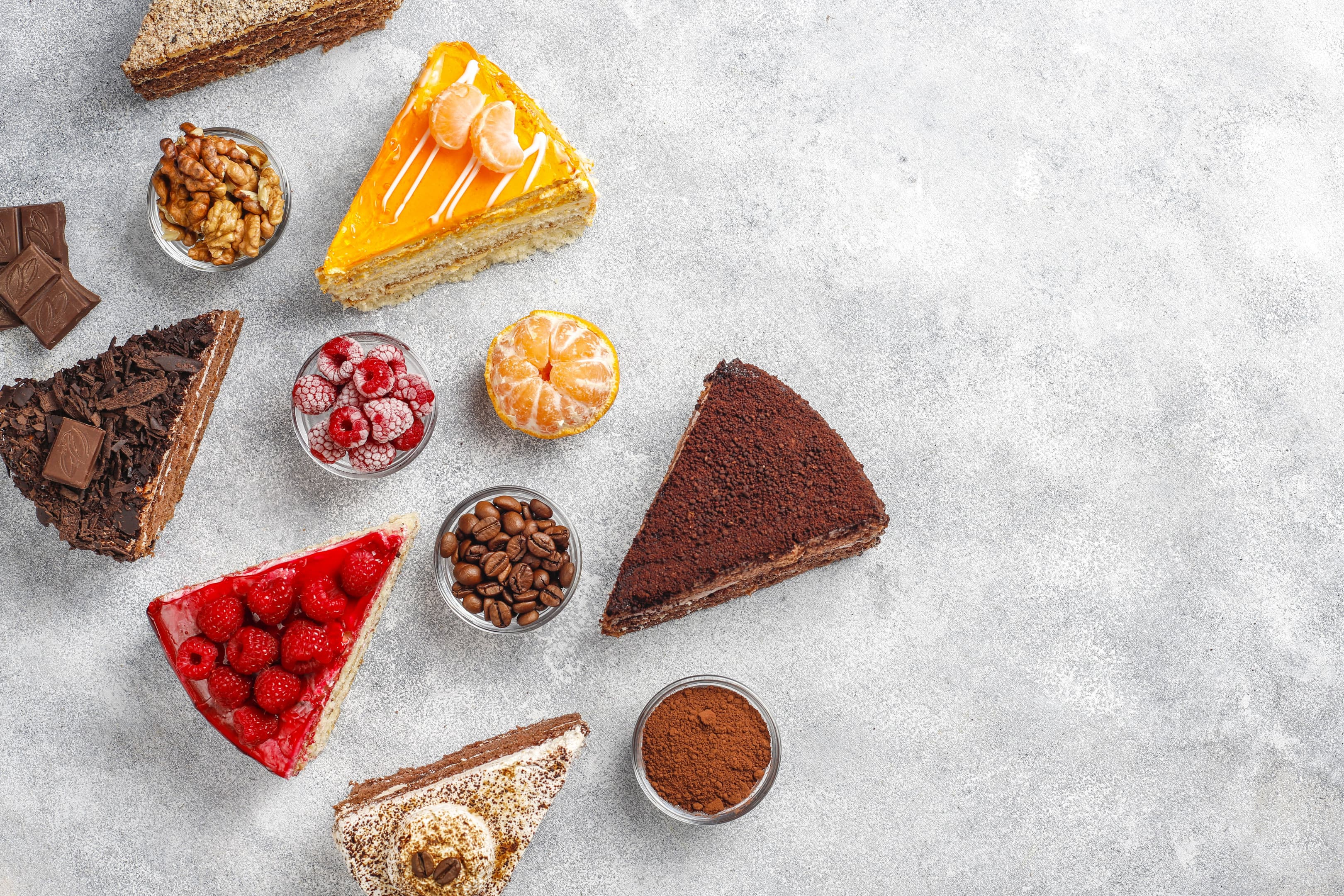 Sugary foods — assortment of cake pieces