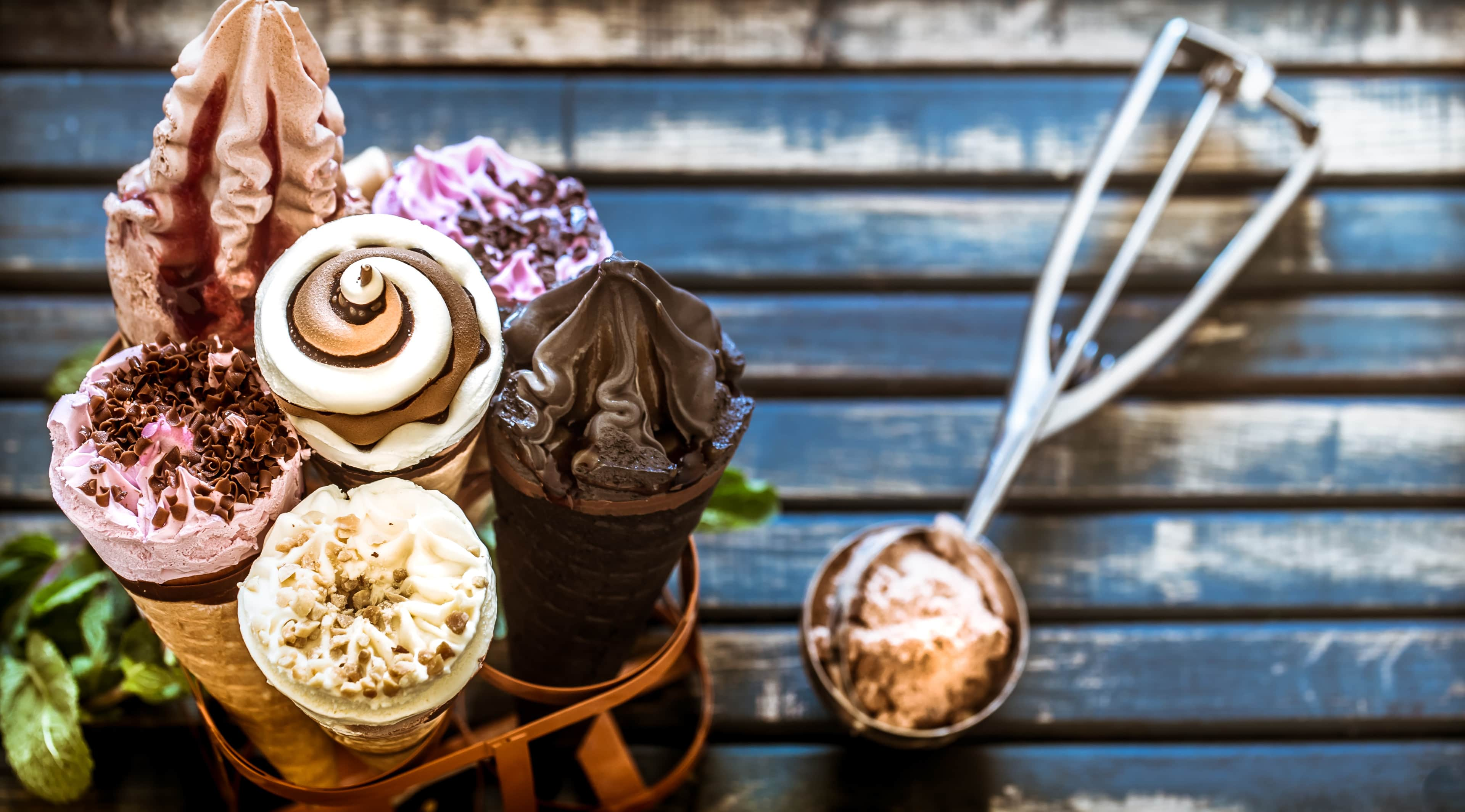 Variety of ice cream cones on a stand