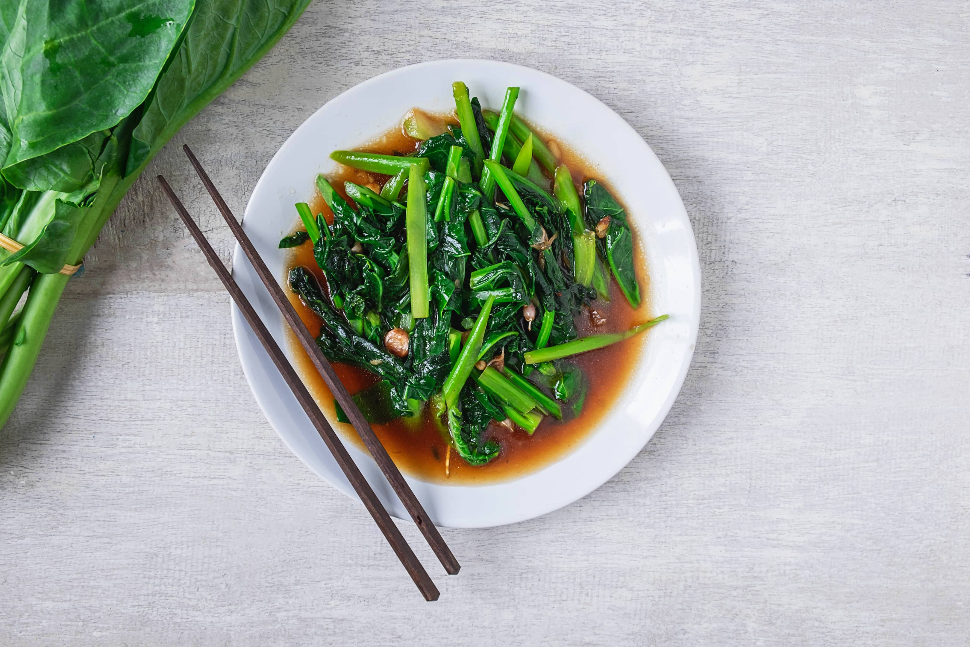 Chinese broccoli (Gai-lan) stir fry with oyster sauce