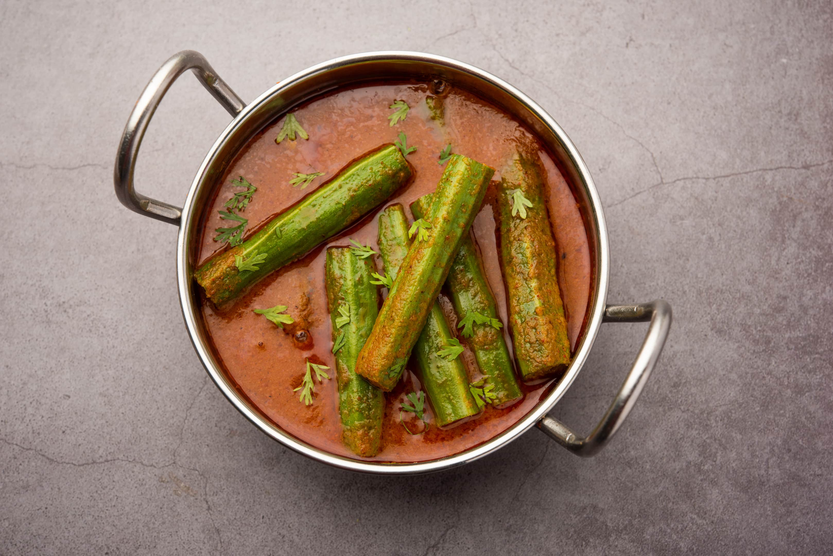 Indian drumstick curry — moringa sticks and spices curry