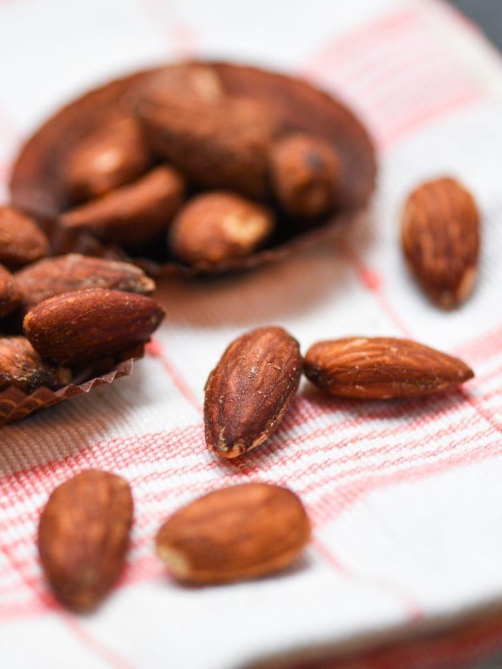 Tamari almonds roasted on a tablecloth