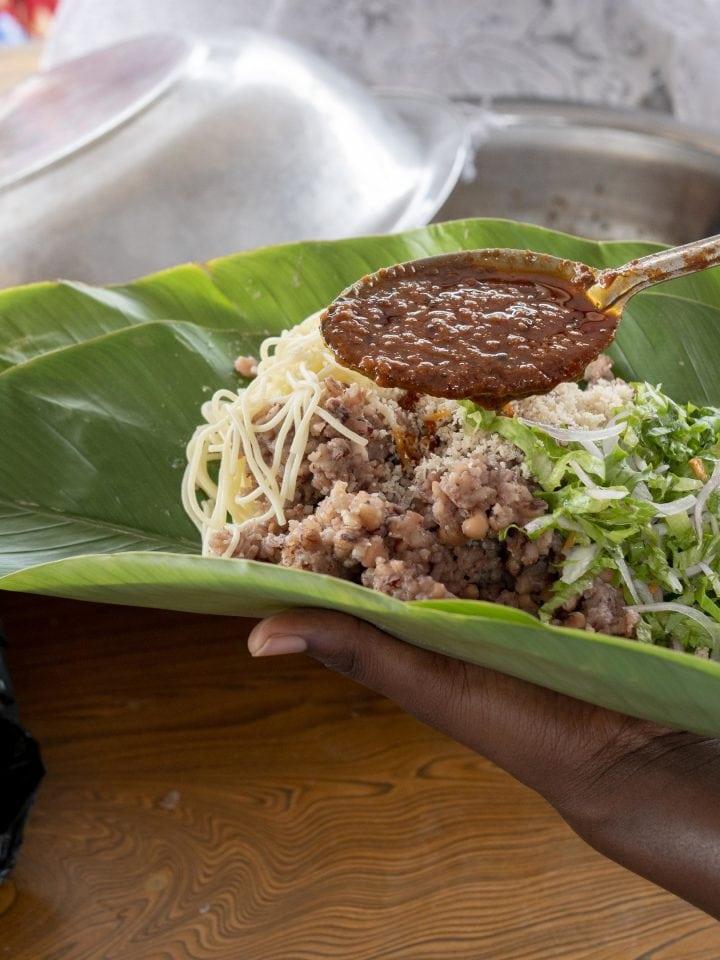 Traditional African waakye leaves dish